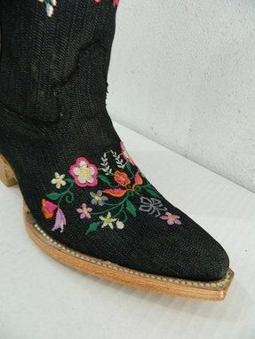 Custom Made Denim Woman Cowboy Boots With Beautiful Flower Embroider Only Pair Size 7 Us