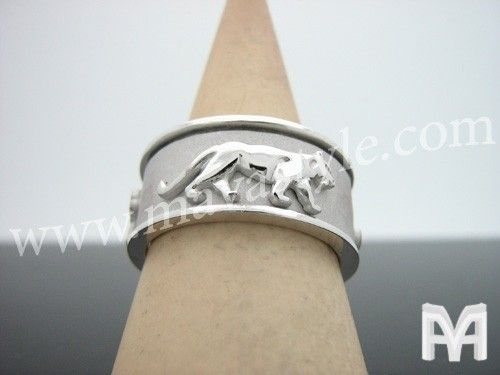 Custom Made 925 Sterling Silver Spinning Panther Ring