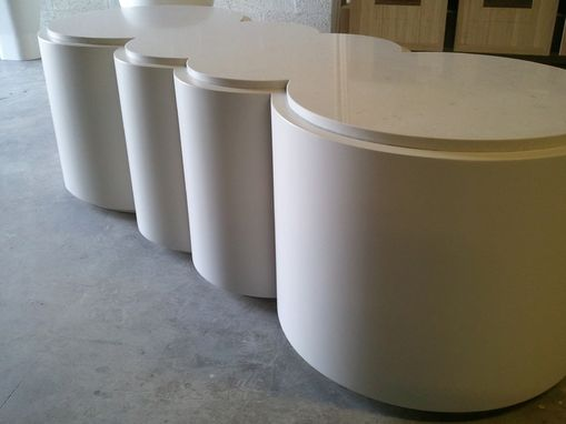 Custom Made Contemporary White Round Coffee Table