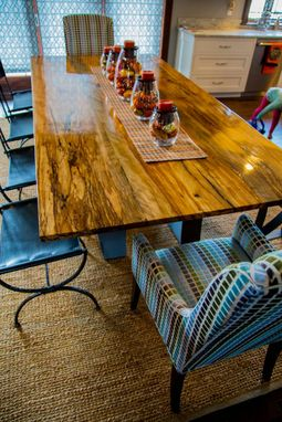 Custom Made Spalted And Buried Reclaimed Red Elm Table With Curved Modern Base