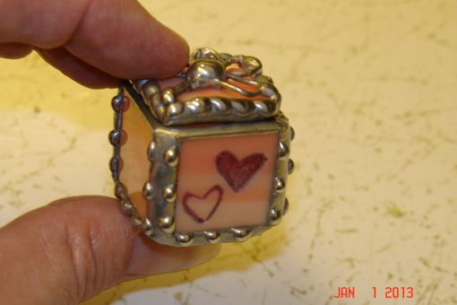 Custom Made 3/4 X 3/4 X 3/4 Tiny Ring Stained Glass Box In Creamy Orange And White With Etched Hearts