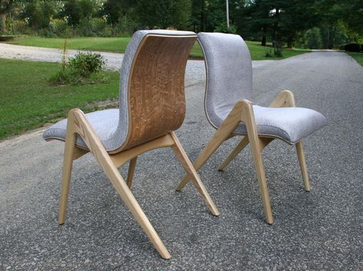 "Custom Made Dining Chair Mid-Century Modern, Comfortable, Faux Ostrich Seat ""Grasshopper"""