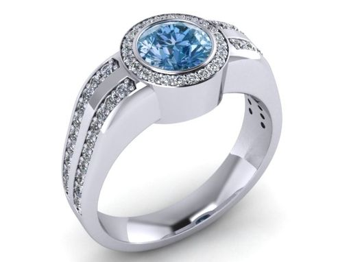 Custom Made Blue Diamond Gold Womans Ring