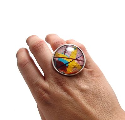 Custom Made Retro Ring - Abstract Ring - Yellow Pastel Pink Ring - Large Spring Statement Ring
