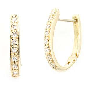 Custom Made Diamond Oval Hoop Earrings In 14k Yellow Gold, Ladies Earrings, Hoop Earrings