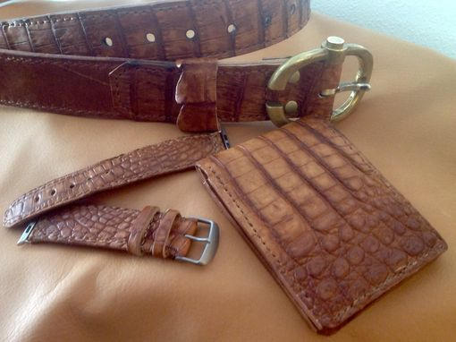 Custom Made Matching Exotic Nile Crocodile Leather Belt, Watch Strap And Wallet