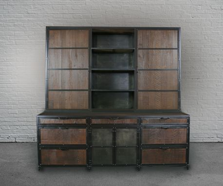 Custom Made Vintage Industrial Wood File Cabinet With Hutch. Handmade. Rustic Industrial. Display Shelf.