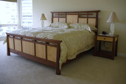Custom Made Custom Designed Walnut And Curly Maple Bed