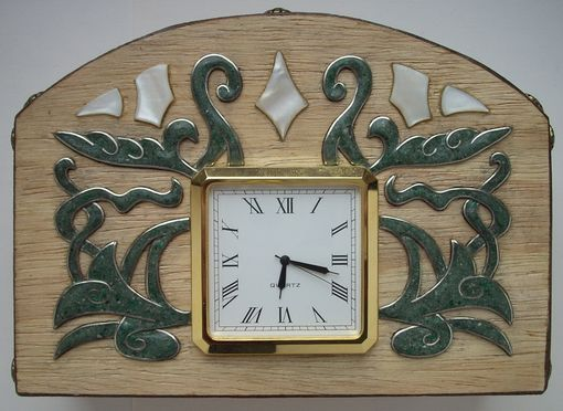 Custom Made Wooden Inlaid Clock.