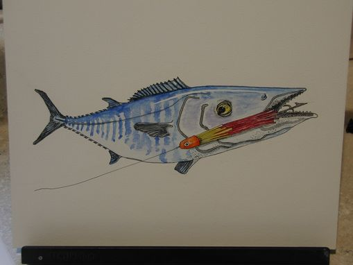 Custom Made Watercolor Wahoo Fish