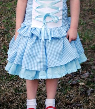 Custom Made Dorothy Inspired Twirl Corset Peasant Two Piece Set For Girls