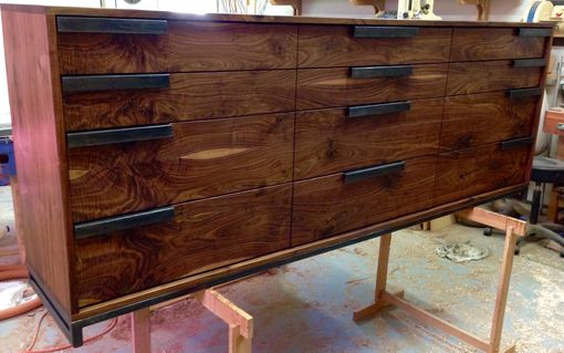 Custom Made Modern 12 Drawer Walnut Dresser