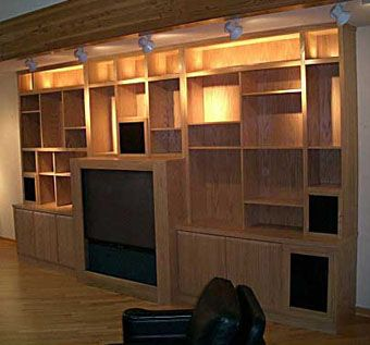 Custom Made Custom Entertainment Unit In Oak With Accent Lighting