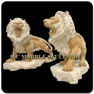 Custom Made Pair Marble Lions On Base