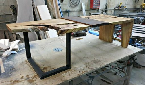 Custom Made Elm And Steel Coffee Table With Removable Walnut Serving Tray.