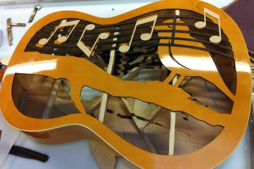 Custom Made Laser Cutting Acoustic Guitar For Charity Project