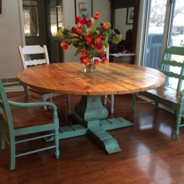 Reclaimed Wood Round Urn Pedestal Farmhouse Table by - Alice Brodkin: Wonderland Woodworks Baltimore, MD