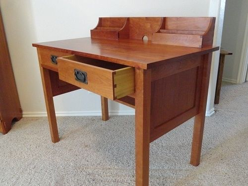 Custom Made Arts And Crafts 2 Drawer Desk, Cherry
