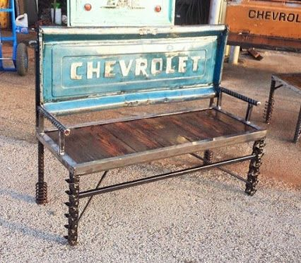 Custom Made Chevy Truck Tailgate Bench Outdoor Garden Benches