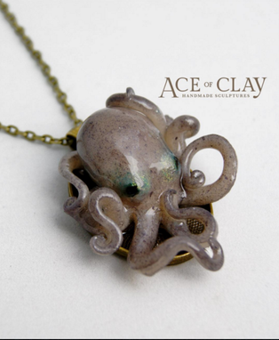Custom Made Custom Realistic Baby Octopus Pendant Necklace
