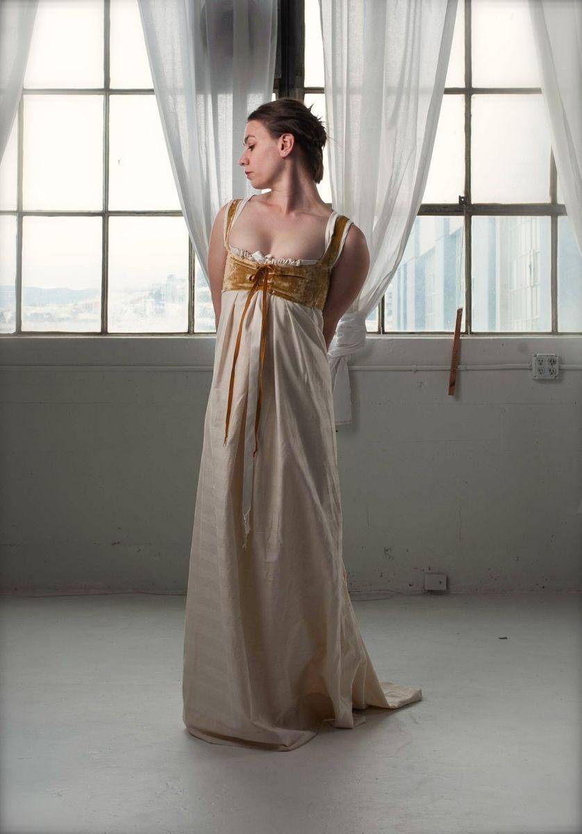Custom Made Regency Wedding Gown With Mustard Velvet Bodice