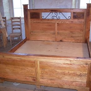 Reclaimed Wood And Hand Forged Wrought Iron Accents Craftsman Style Platform Storage Bed