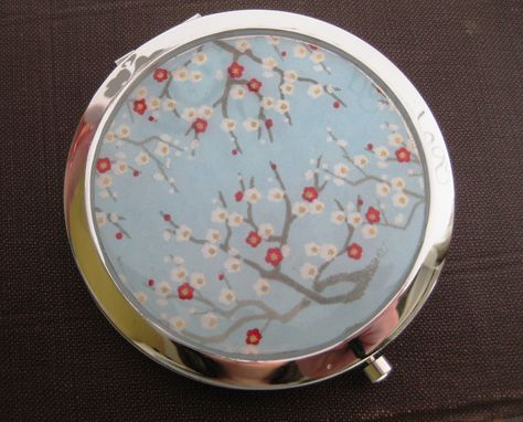 Custom Made Double-Sided Compact Mirror With Cherry Blossom Sky Design