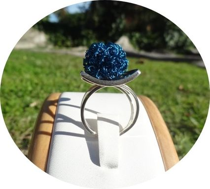 Custom Made Blue Sterling Silver Ring