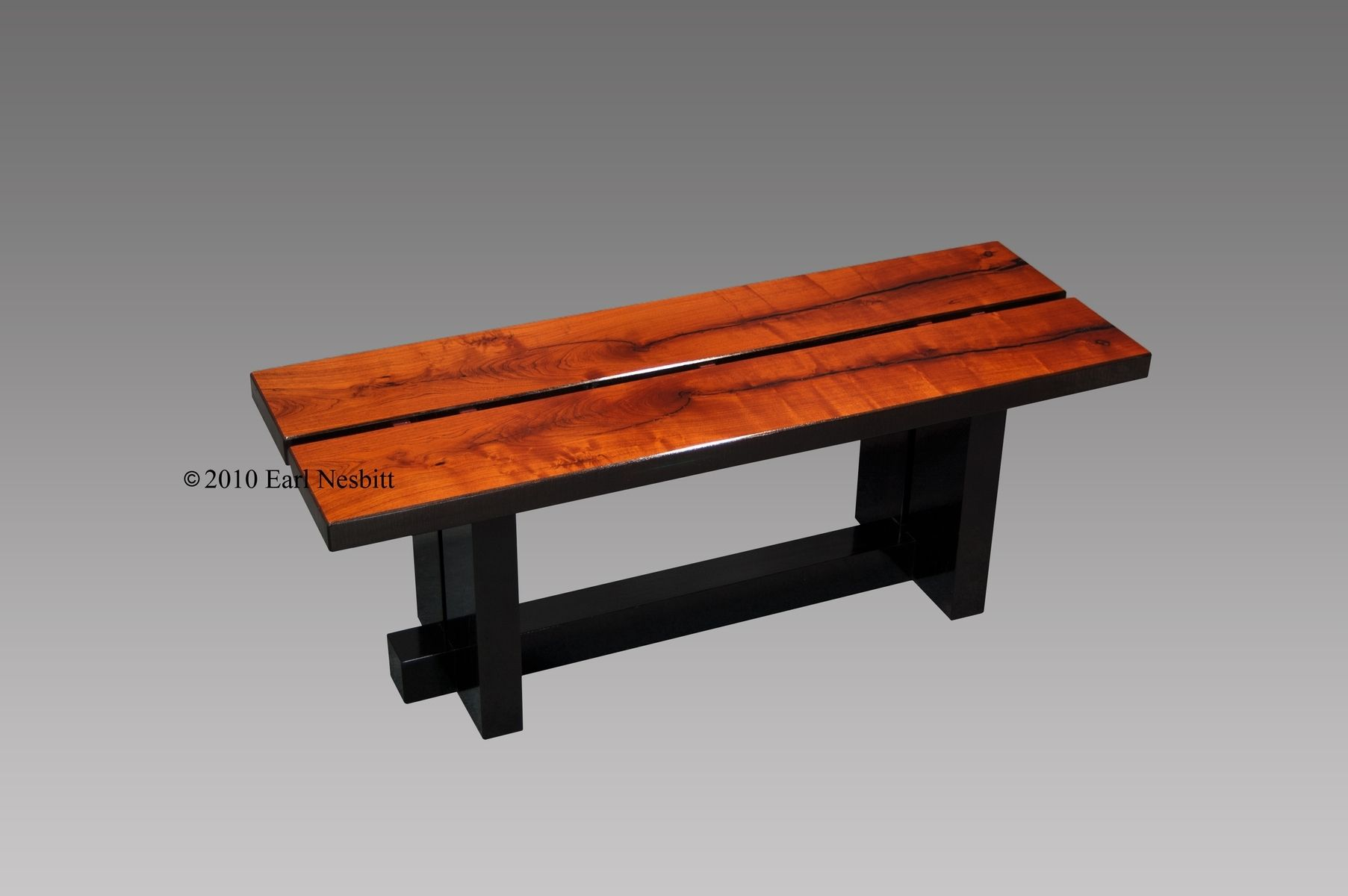 Custom Coffee Table Bench Mesquite by Earl Nesbitt Fine