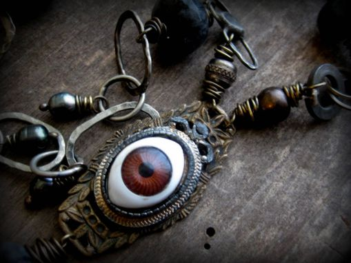 "Custom Made Vintage Doll Eye With Beads And Pearls Brass Necklace ""I Can See Through You''"