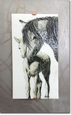 Custom Made Mare And Foal Fused Glass Wall Art