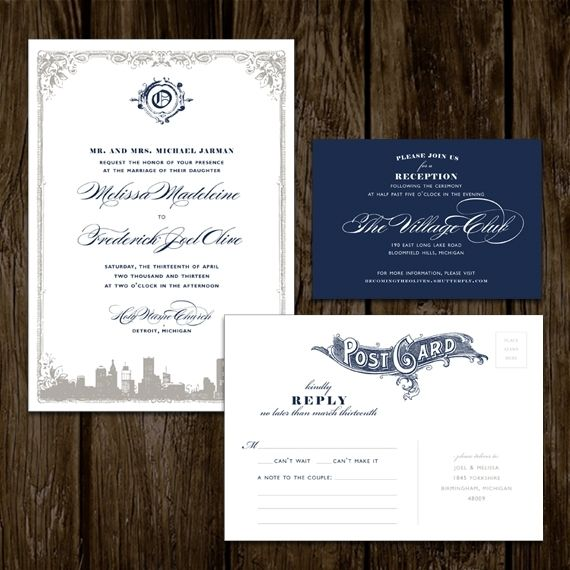 Personalized Skyline Wedding Invitations: Handmade Detroit Skyline Wedding Invitations By Lano