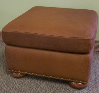 Custom Made Small Buffalo Leather Ottoman