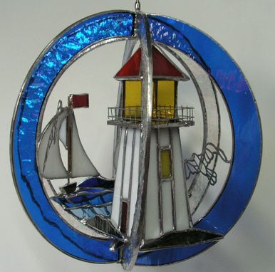 Custom Made Stained Glass Lighthouse Swirl With Led