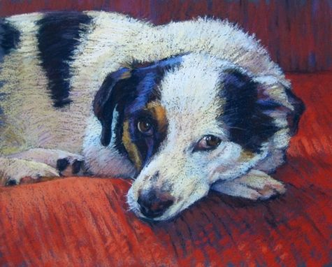 Custom Made Pet Portrait-Pastel Painting Of A Resting Dog, 8 X 10 Inches