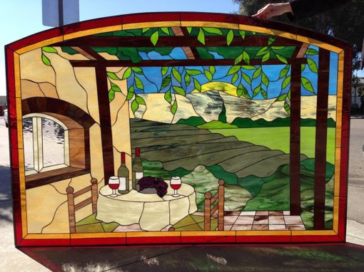 Custom Made Huge Napa Valley Vineyard Stained Glass Window