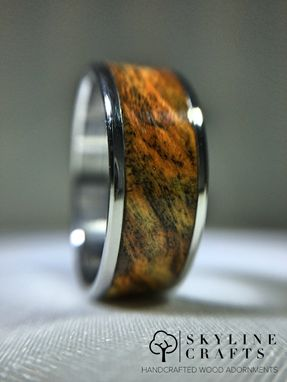 Custom Made Triple Dyed Buckeye Burl Wood Ring. Handcrafted Wood Ring.
