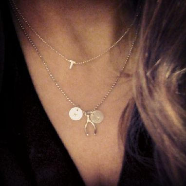 Custom Made Personalized Wishbone Initial Disc Necklace