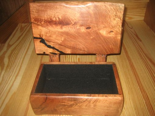 Custom Made Mesquite Wood Box With Wooden Hinges