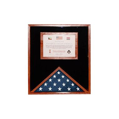 Custom Made Flag Display Cases With Certificate Holder