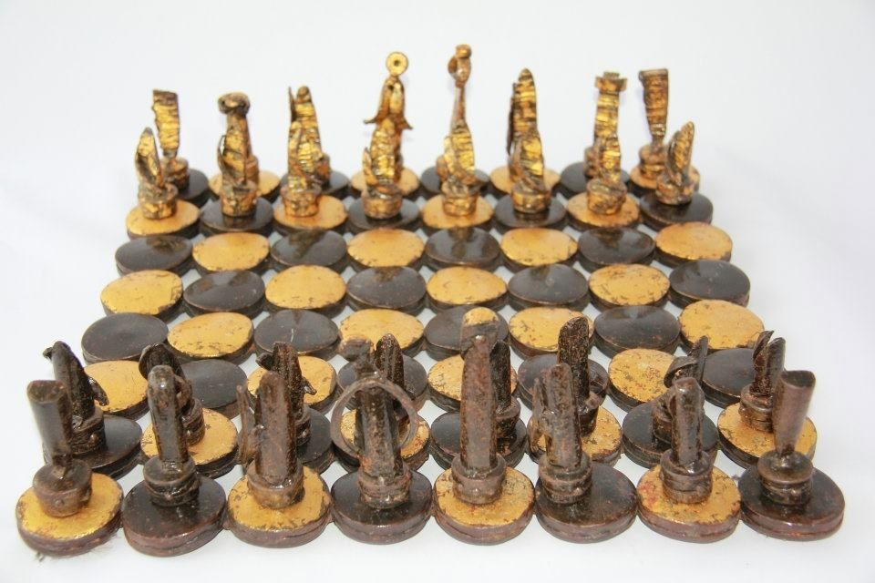 Steel Chess Set custom steel and gold chess setmatthew weinberger metalsmith