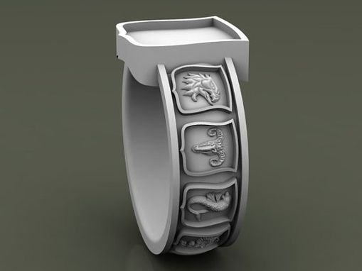 Custom Made Ten Shield Signet Ring