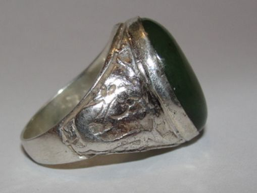 Custom Made Men's Antique Inspired Oval Chinese Inspired Sterling Silver And Jade Cabochon Ring