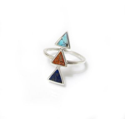 Custom Made Triple Triangle Inlay Ring With Turquoise, Lapis, Sponge Coral - Customizable!