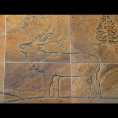 Custom Made Carved Tile Slate Mural