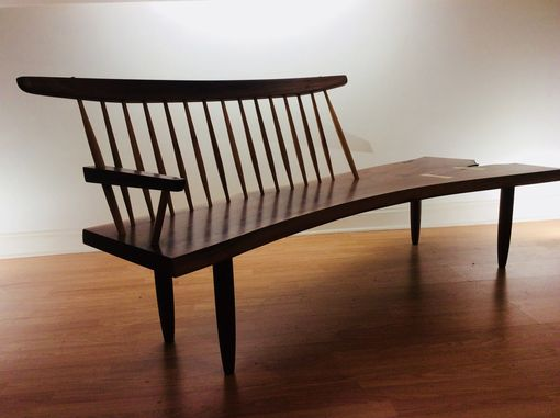 Custom Made Nakashima Style Walnut Conoid Bench
