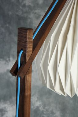 Custom Made Egret Lamp: Fine Craft / Easy Japanese Joinery Assembly / Color Cord / Origami Shade