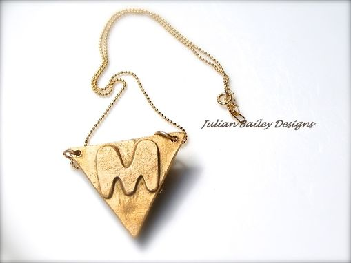 Custom Made Bronze Letter Pendant Initial Personalized  Bronze Silver Letter Name Necklace