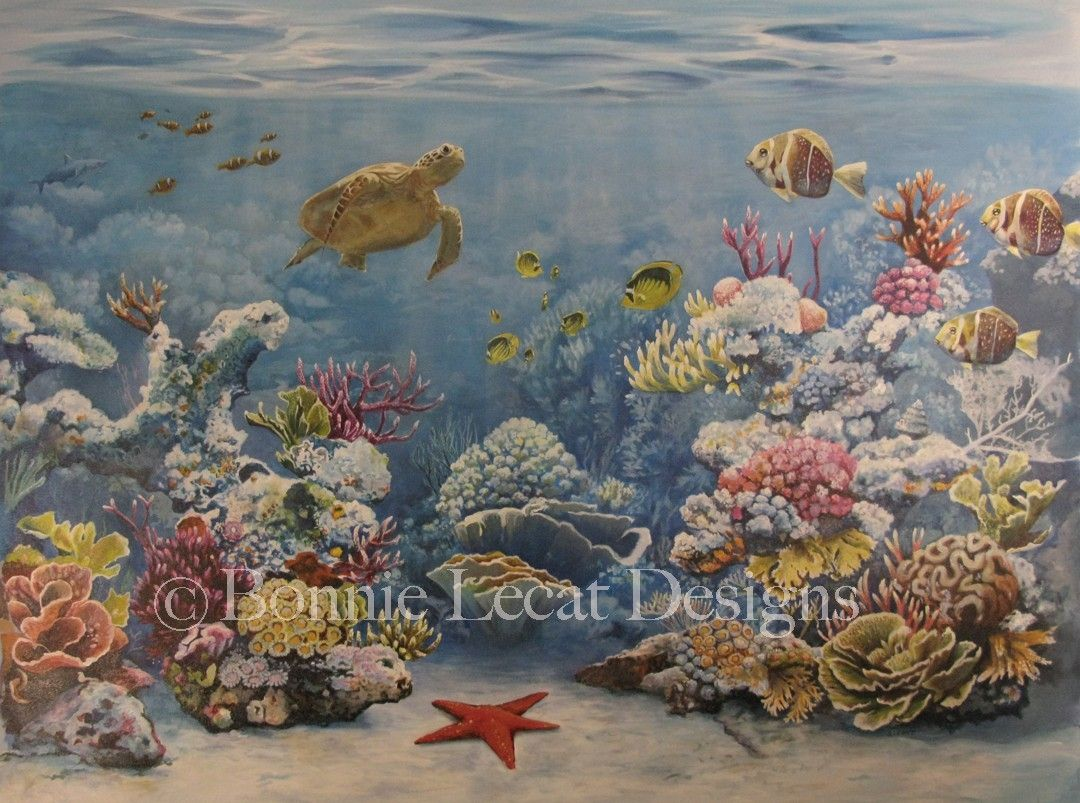 Buy a custom coral reef mural made to order from bonnie for Buy mural paintings