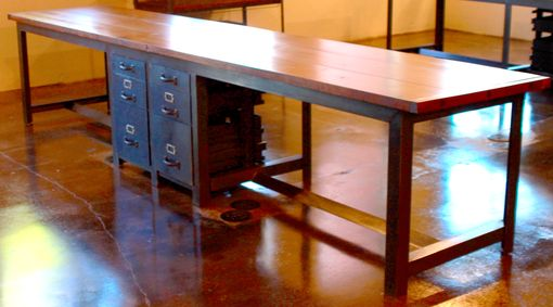 Custom Made Large Two Person Industrial Desk With Built In Drawers, Iron And Pine